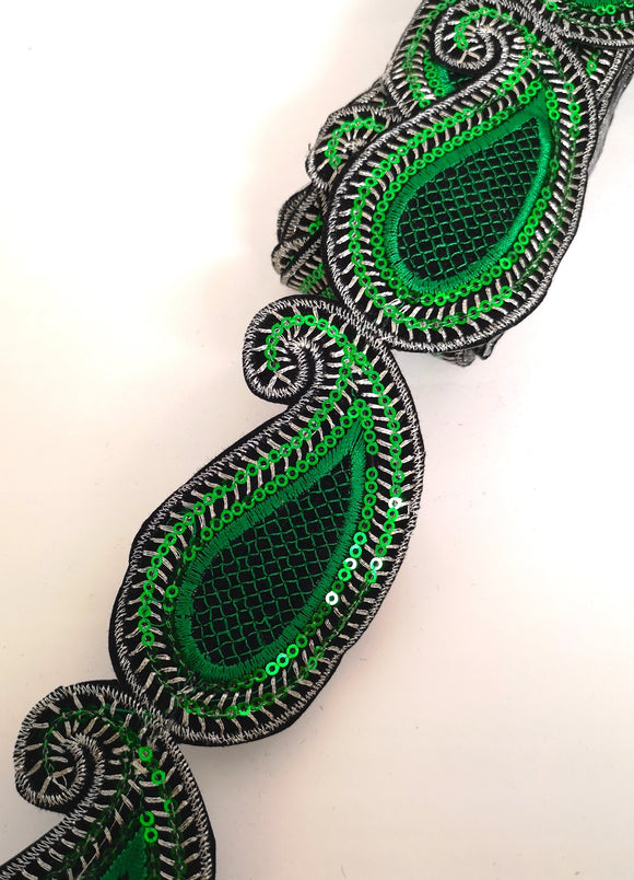Emerald Green Sequin Paisley Design Iron on Trim