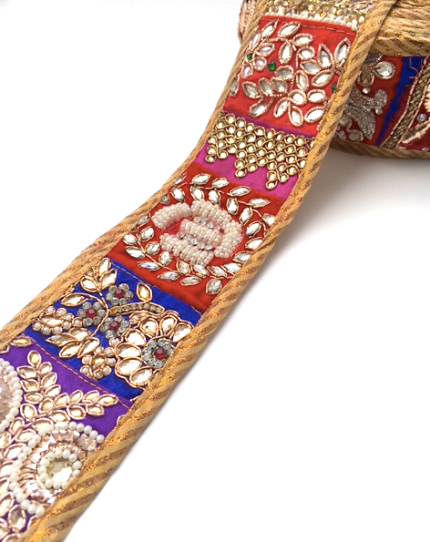 Multicoloured Patchwork Embroidery Trim