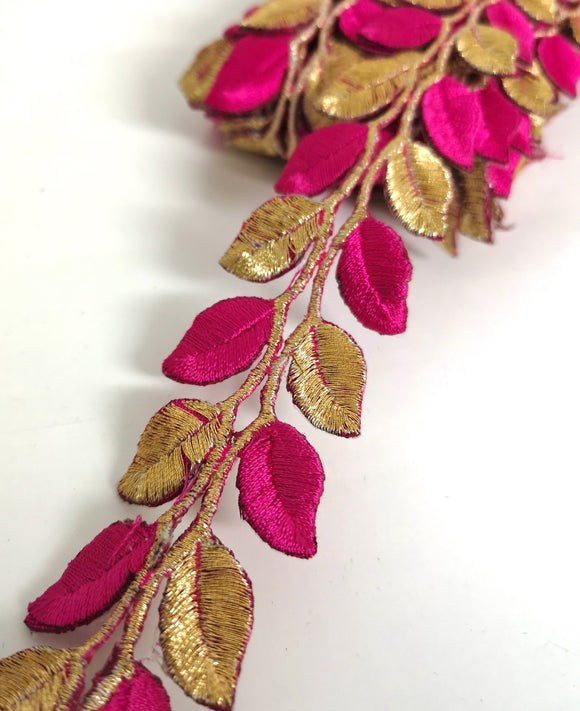 5631 Hot Pink & Gold Leaf Design Iron on Trim