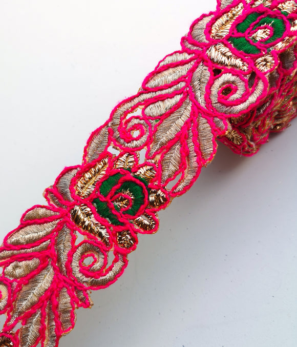 Hot Pink & Green Thread Flower Swirl Cutwork Trim