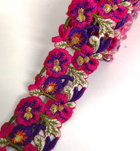 Narrow Hot Pink & Purple Pansy Flower Cutwork Trim