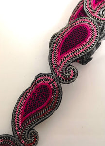 Hot Pink Sequin Paisley Design Iron on Trim