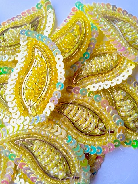 A26 Lemon Yellow & Gold Leaf Shaped Motif