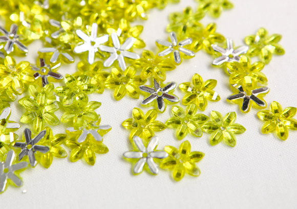 Bright Yellow 10mm Chikka Flower Flatback Gems