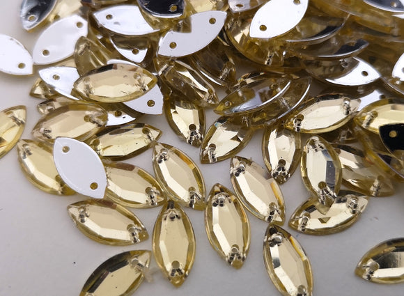 Light Gold Champagne 5mm x 10mm Horse Eye Shaped Flatback Gems