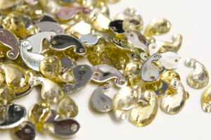 Light Gold 12mm Paisley Flat Back Gems