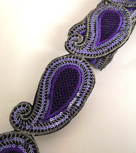 Lilac Sequin Paisley Design Iron on Trim