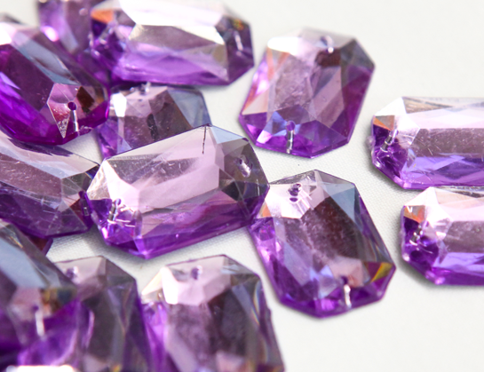 Lilac 25mm x 18mm Octangle Flat Back Gems