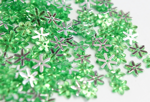Lime Green 10mm Chikka Flower Flatback Gems