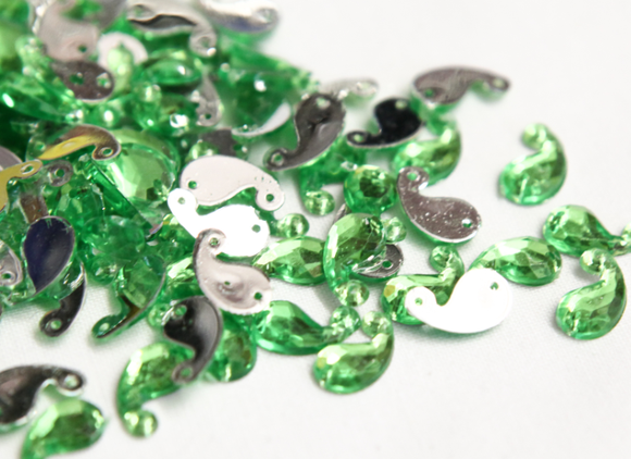 Lime Green 12mm Paisley Flat Back Gems