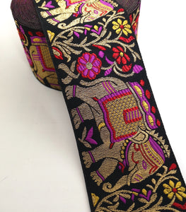 Maroon, Purple & Yellow Elephant Embroidery Trim