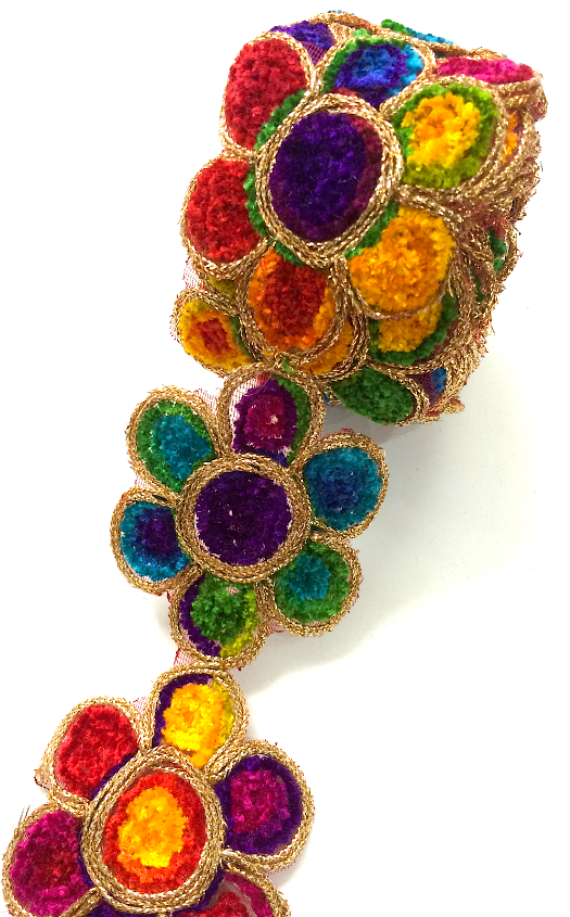 Rainbow Thread Flower Motif Trim