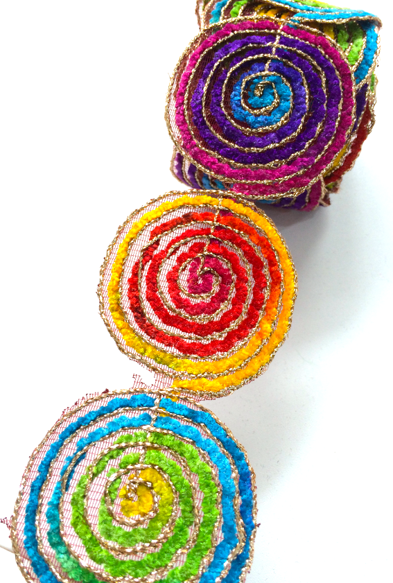 Rainbow Thread Swirl Motif Trim