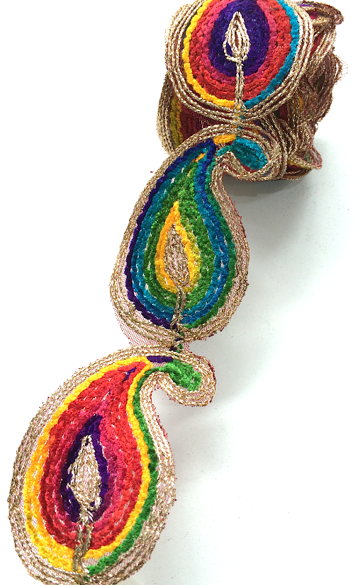 Rainbow Thread Paisley Motif Trim