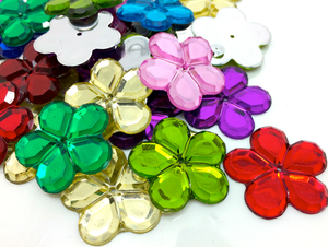Multicoloured 24mm Big Flower Flatback Gems