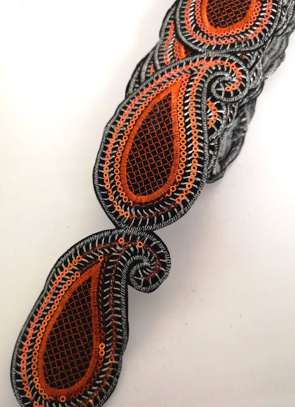 Orange Sequin Paisley Design Iron on Trim