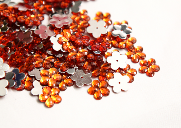 Orange 15mm Flower Flat Back Gems