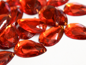 Orange 20mm x 30mm Teardrop Flat Back Gems
