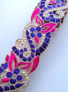 Pink & Purple 2 colour Flower Cutwork Diamond Stone Trim