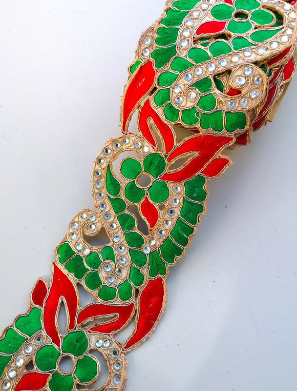 Red & Green 2 colour Flower Cutwork Diamond Stone Trim