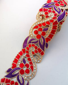 Purple & Red 2 colour Flower Cutwork Diamond Stone Trim