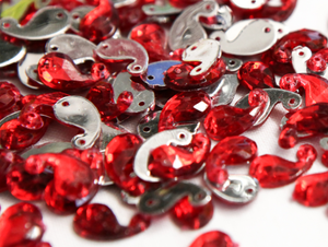 Red 12mm Paisley Flat Back Gems