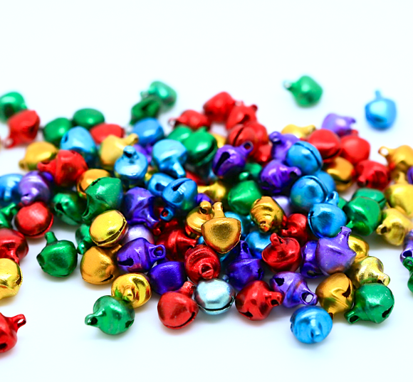 Multi Coloured 8mm x 10mm Christmas Jingle Bells