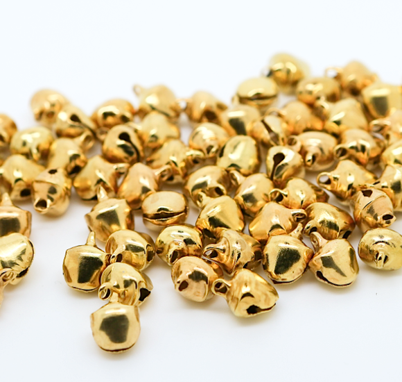 Gold 8mm x 10mm Christmas Jingle Bells