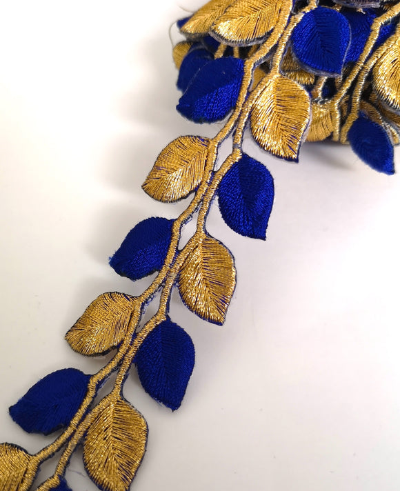 5631 Royal Blue & Gold Leaf Design Iron on Trim