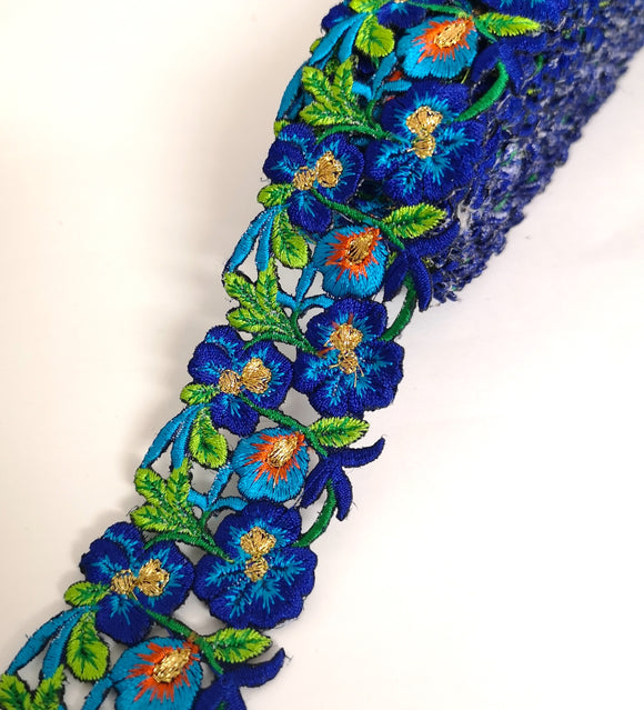 Narrow Royal Blue, Turquoise & Orange Pansy Flower Cutwork Trim