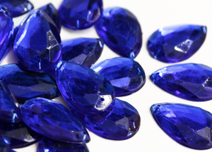 Royal Blue 20mm x 30mm Teardrop Flat Back Gems