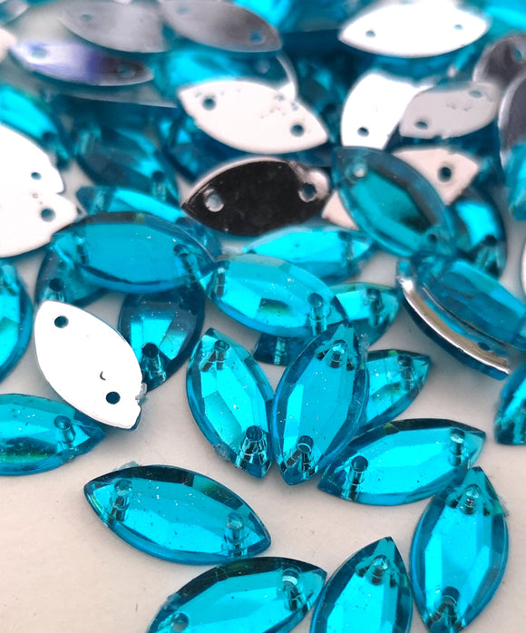 Turquoise 5mm x 10mm Horse Eye Shaped Flatback Gems