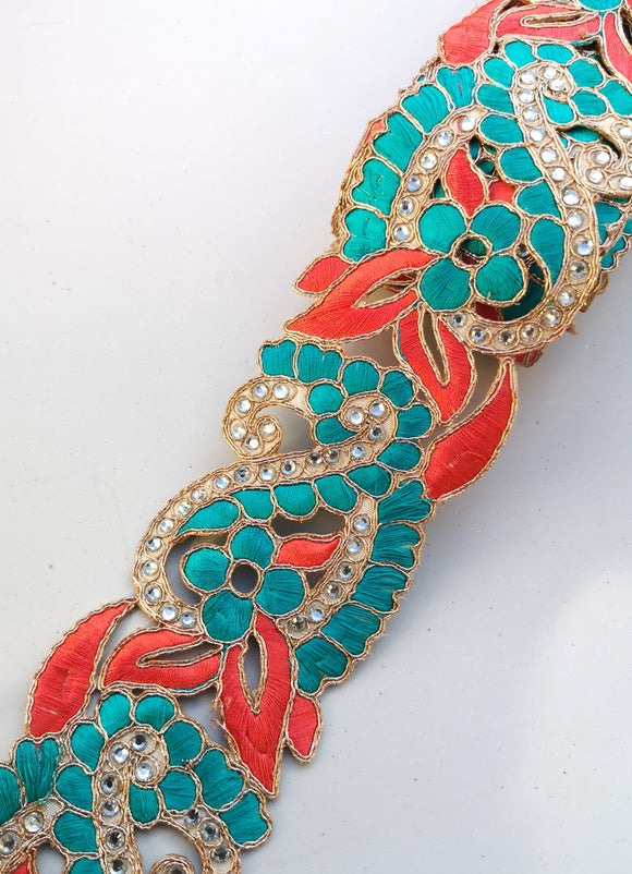 Turquoise & Coral 2 colour Flower Cutwork Diamond Stone Trim