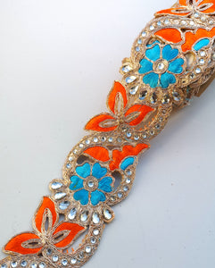 Orange & Turquoise 2 colour Flower Cutwork Diamond Stone Trim