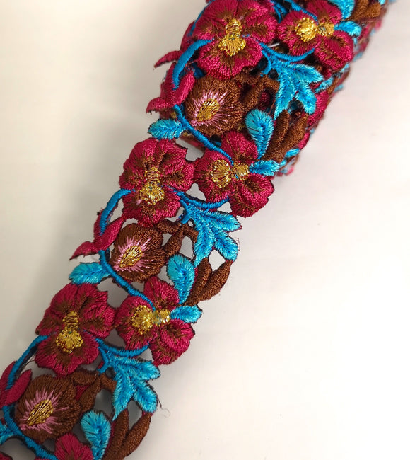 Narrow Mulberry, Turquoise, Brown & Pink Pansy Flower Cutwork Trim