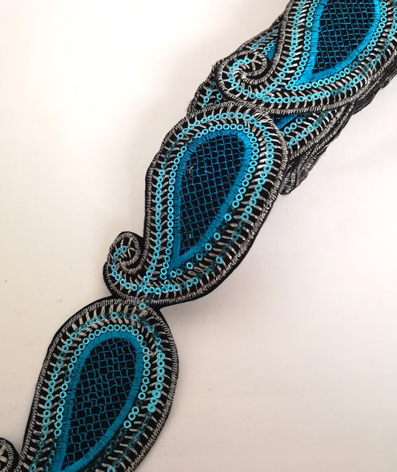 Turquoise Sequin Paisley Design Iron on Trim