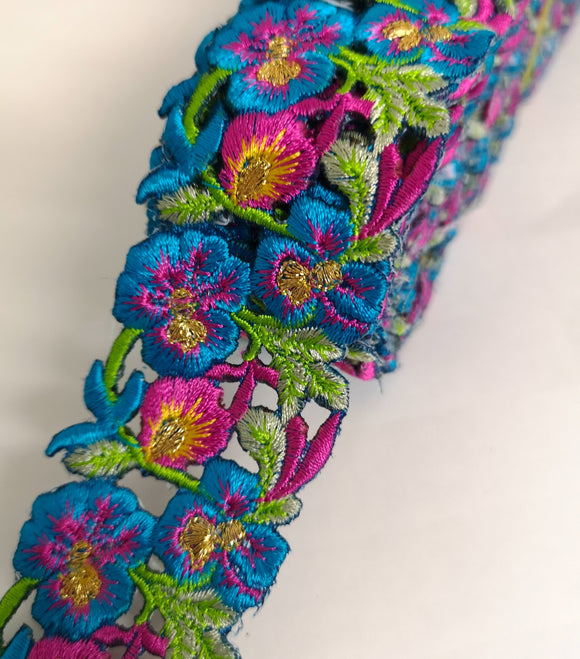 Narrow Turquoise, Pink & Yellow Pansy Flower Cutwork Trim