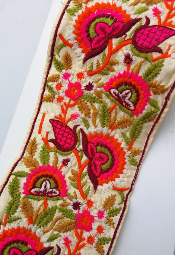 Wide White with Multicoloured Threadwork Embroidery Trim