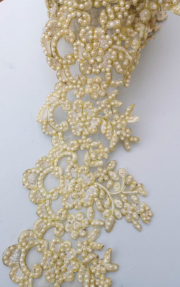 Wide Ivory & Gold Pearl Flower Bridal Cutwork Trim
