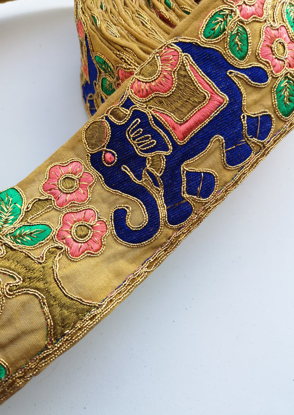Blue, Pink & Green Wide Elephant Embroidery Trim