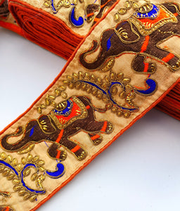 Orange & Blue Wide Elephant Embroidery Trim