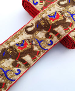 Red & Blue Wide Elephant Embroidery Trim