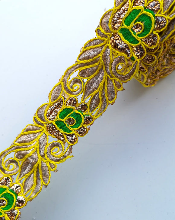 Yellow & Green Thread Flower Swirl Cutwork Trim