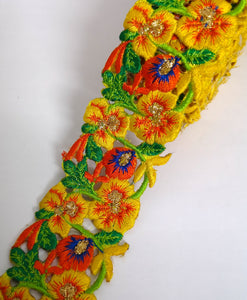 Narrow Yellow, Orange & Blue Pansy Flower Cutwork Trim