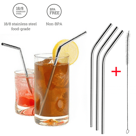 Eco-friendly Stainless Steel Reusable Drinking Straw + Cleaner Brush Kit (3pcs set)