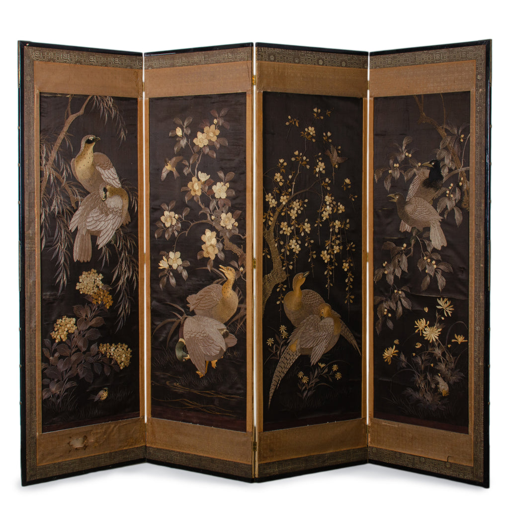 Japanese Embroidered Folding Screen, Meiji Period