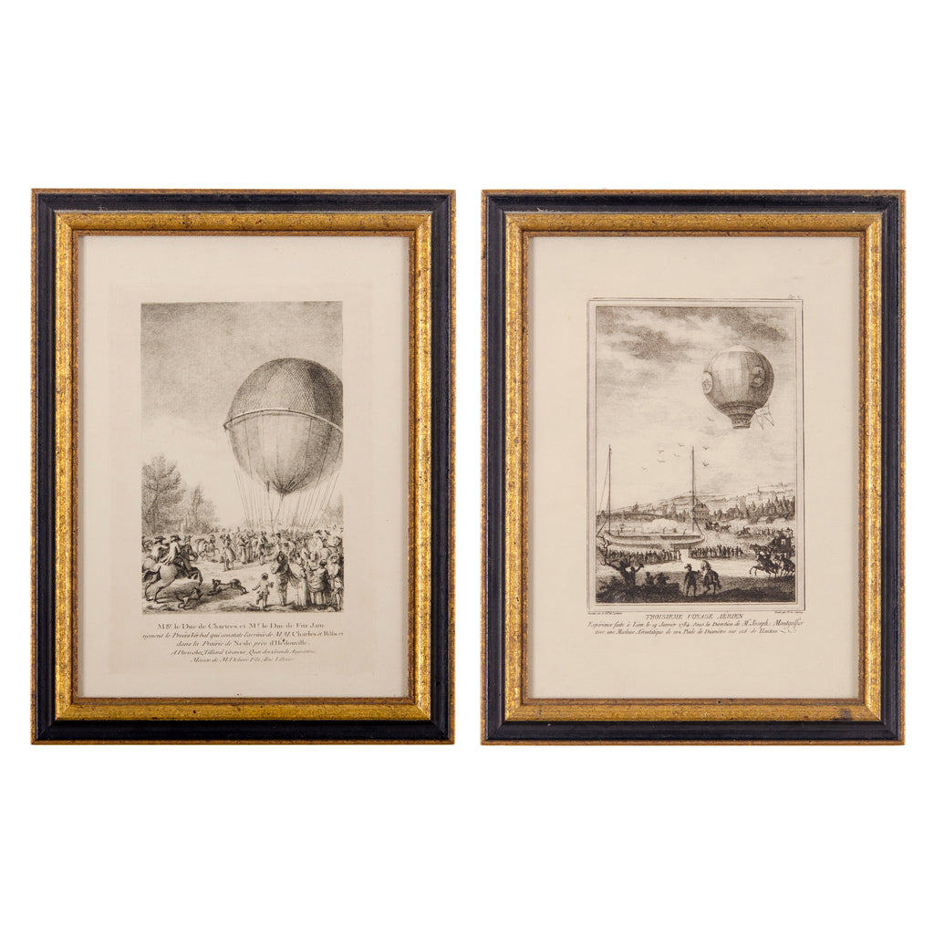 18th Century French Hot Air Balloon Etchings - A Pair