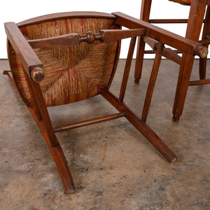 Pair of French Country Rush Seat Chairs