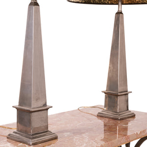 Maitland-Smith Silver Obelisk Lamps