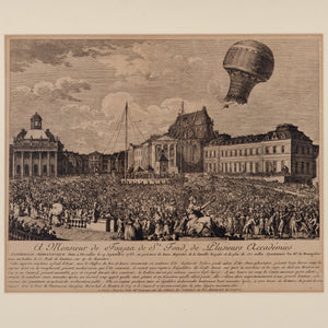 Montgolfier Brother's Balloon Etching, French, 18th Century